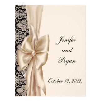 elegant damask wedding menu flyer design