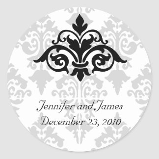 Elegant Damask Wedding Sticker