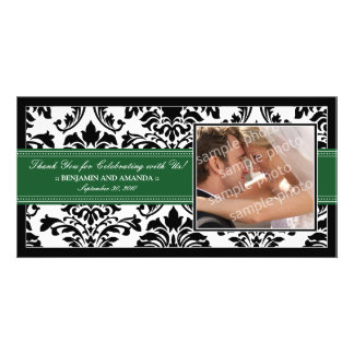 Elegant Damask Wedding Thank You Photocard: green Picture Card
