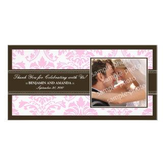 Elegant Damask Wedding Thank You Photocard: pink Custom Photo Card