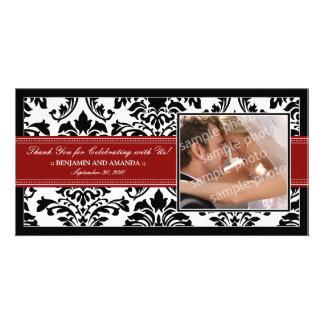 Elegant Damask Wedding Thank You Photocard: red Personalized Photo Card