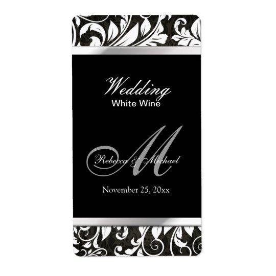 Elegant Damask Wedding Wine Labels