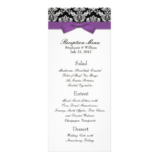 Elegant Damask with Purple Bow Reception Menu Personalized Invites