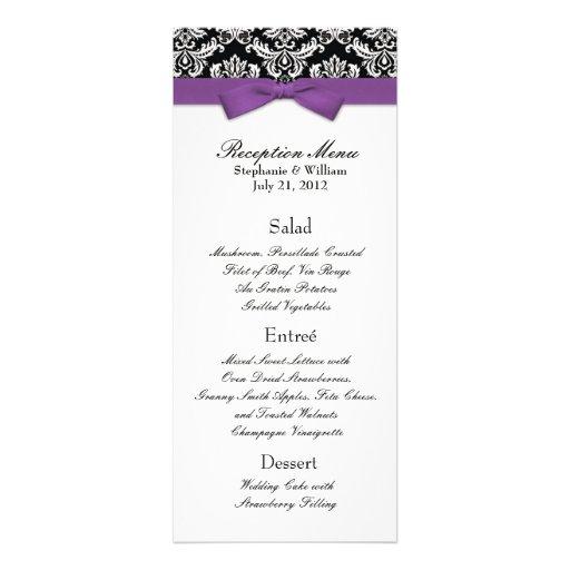 Elegant Damask with Purple Bow Reception Menu Personalized Invites