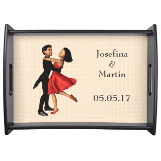 Elegant Dancers: Red Silk Dress (Personalized) Serving Tray