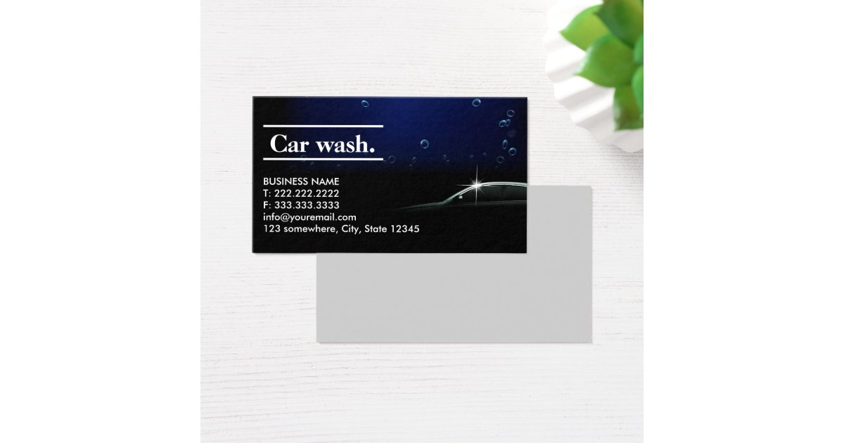Elegant dark auto detailing car wash business card zazzleca for Car wash business cards