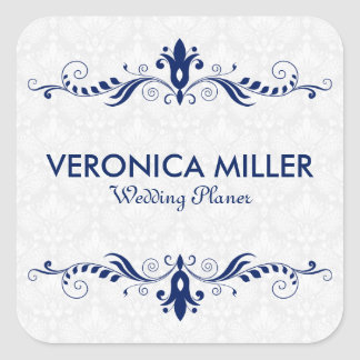 Elegant Dark Blue And Swirly Frame Square Sticker