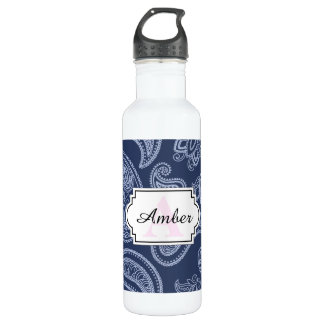 Elegant dark blue paisley pattern 710 ml water bottle