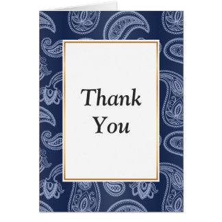 Elegant dark blue paisley pattern card