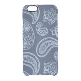 Elegant dark blue paisley pattern clear iPhone 6/6S case