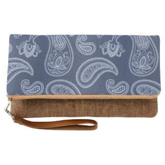 Elegant dark blue paisley pattern clutch