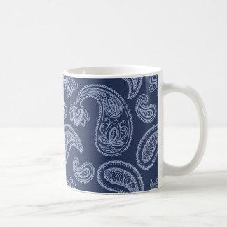 Elegant dark blue paisley pattern coffee mug