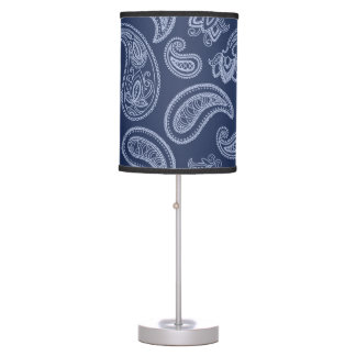 Elegant dark blue paisley pattern desk lamp