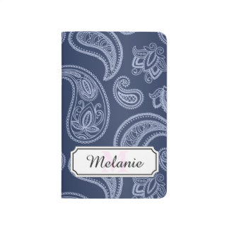 Elegant dark blue paisley pattern journal