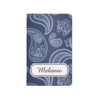 Elegant dark blue paisley pattern journals