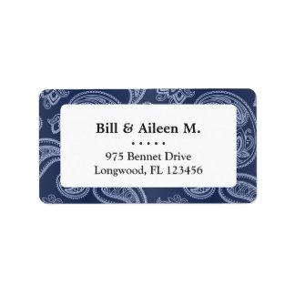 Elegant dark blue paisley pattern label