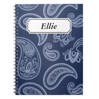 Elegant dark blue paisley pattern notebooks