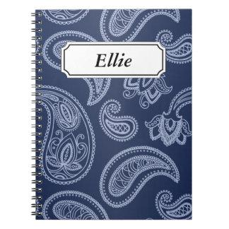 Elegant dark blue paisley pattern spiral notebooks