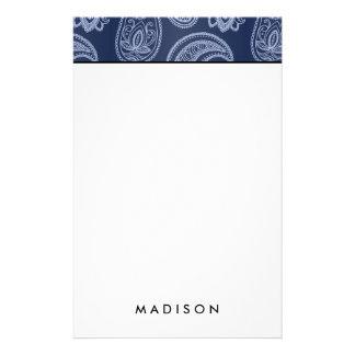 Elegant dark blue paisley pattern stationery
