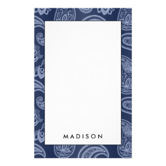Elegant dark blue paisley pattern stationery