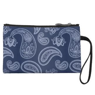 Elegant dark blue paisley pattern wristlet