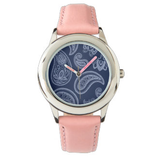 Elegant dark blue paisley pattern wristwatch