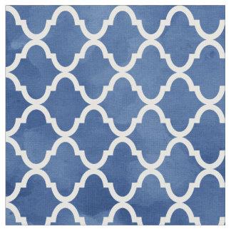 Elegant Dark Blue Watercolor Quatrefoil Pattern Fabric