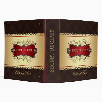 Elegant Dark Brown & Gold Recipe Binder
