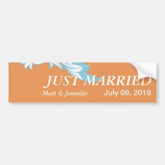 Elegant Dark & Classy Florals - Burnt Orange, Blue Bumper Sticker