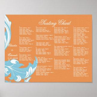 Elegant Dark Classy Florals - Burnt Orange Blue Posters