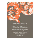Elegant Dark & Classy Florals - Dark Grey, Orange Card