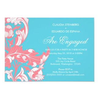"Elegant Dark & Classy Florals - Sky Blue, Pink 5"" X 7"" Invitation Card"