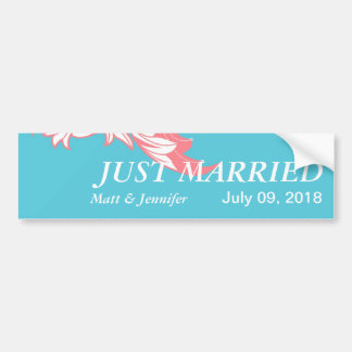 Elegant Dark & Classy Florals - Sky Blue, Pink Bumper Sticker