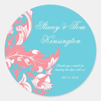 Elegant Dark & Classy Florals - Sky Blue, Pink Round Sticker