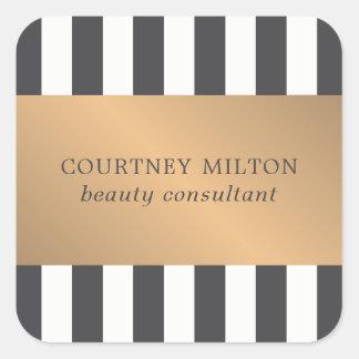 Elegant Dark Faux Gold Stripes Beauty Consultant Square Sticker