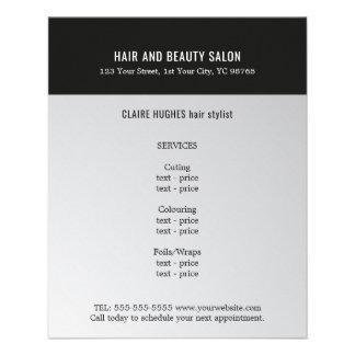 Elegant Dark Faux Silver Black Beauty Salon Flyer