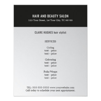 Elegant Dark Faux Silver Black Beauty Salon Full Color Flyer