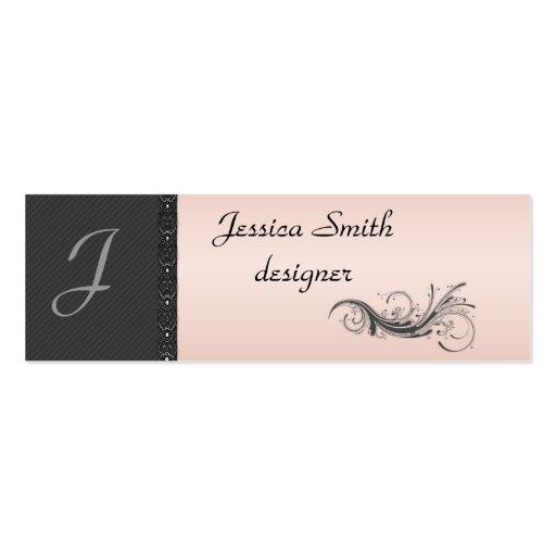 Elegant dark gray discrete stripes stylish lase business card