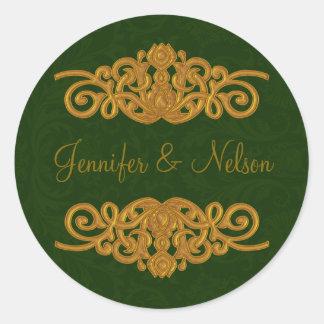Elegant Dark Green & Gold Wedding Envelope Seal
