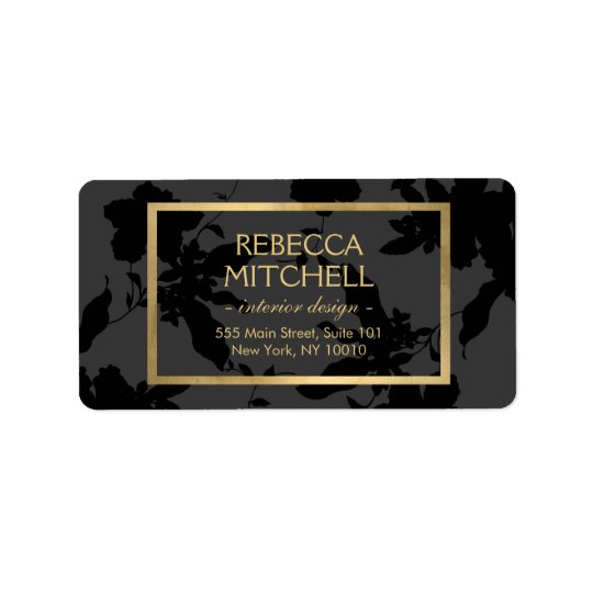 Elegant Dark Grey Floral Pattern with Gold Accents Label