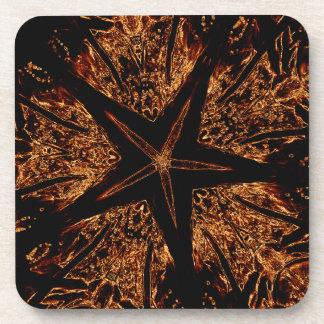 Elegant Dark Kaleidoscopic Design Black Brown Star Coaster