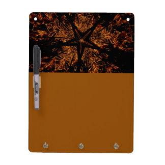 Elegant Dark Kaleidoscopic Design Black Brown Star Dry Erase Board