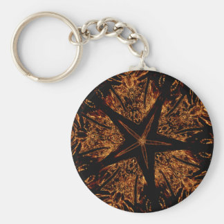 Elegant Dark Kaleidoscopic Design Black Brown Star Keychain