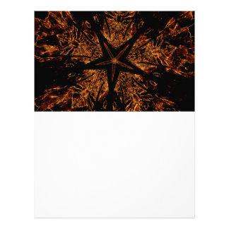 Elegant Dark Kaleidoscopic Design Black Brown Star Letterhead