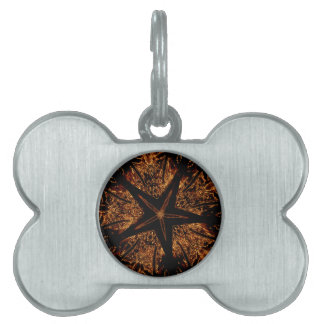 Elegant Dark Kaleidoscopic Design Black Brown Star Pet Name Tag
