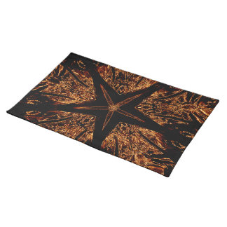 Elegant Dark Kaleidoscopic Design Black Brown Star Placemat