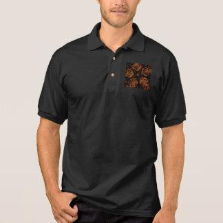 Elegant Dark Kaleidoscopic Design Black Brown Star Polo Shirt