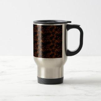 Elegant Dark Kaleidoscopic Design Black Brown Star Travel Mug
