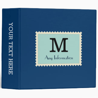 Elegant Dark Midnight Blue Color Monogram Vinyl Binder