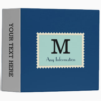 Elegant Dark Midnight Blue Color Monogram Vinyl Binders